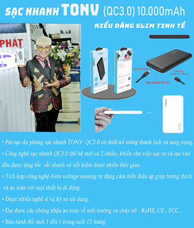 MC Thanh Bạch tin dùng với sạc TONV